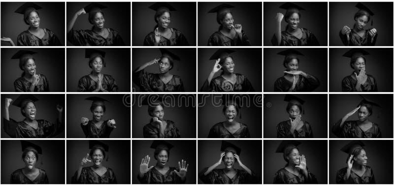 Collage van verschillende gelaatsuitdrukkingen stock foto