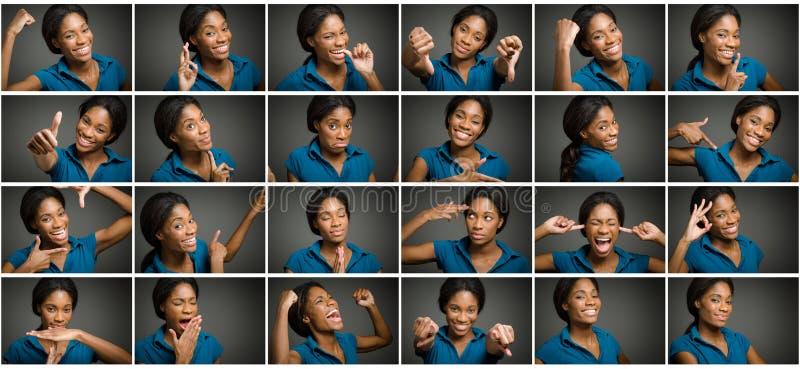 Collage van verschillende gelaatsuitdrukkingen stock foto's