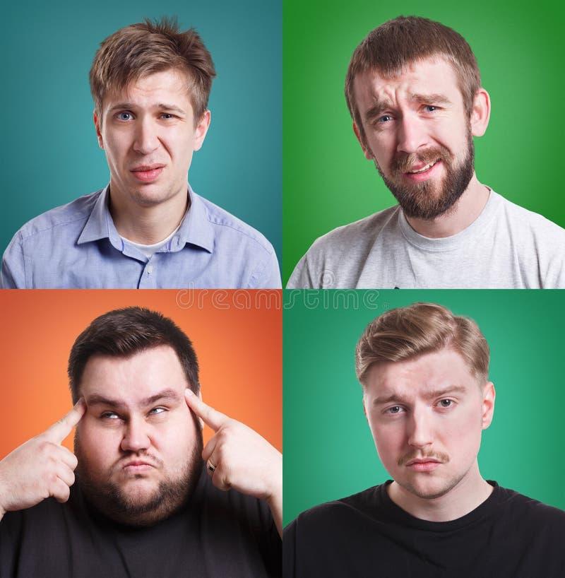 Collage van verschillende mensen die afschuw uitdrukken stock fotografie