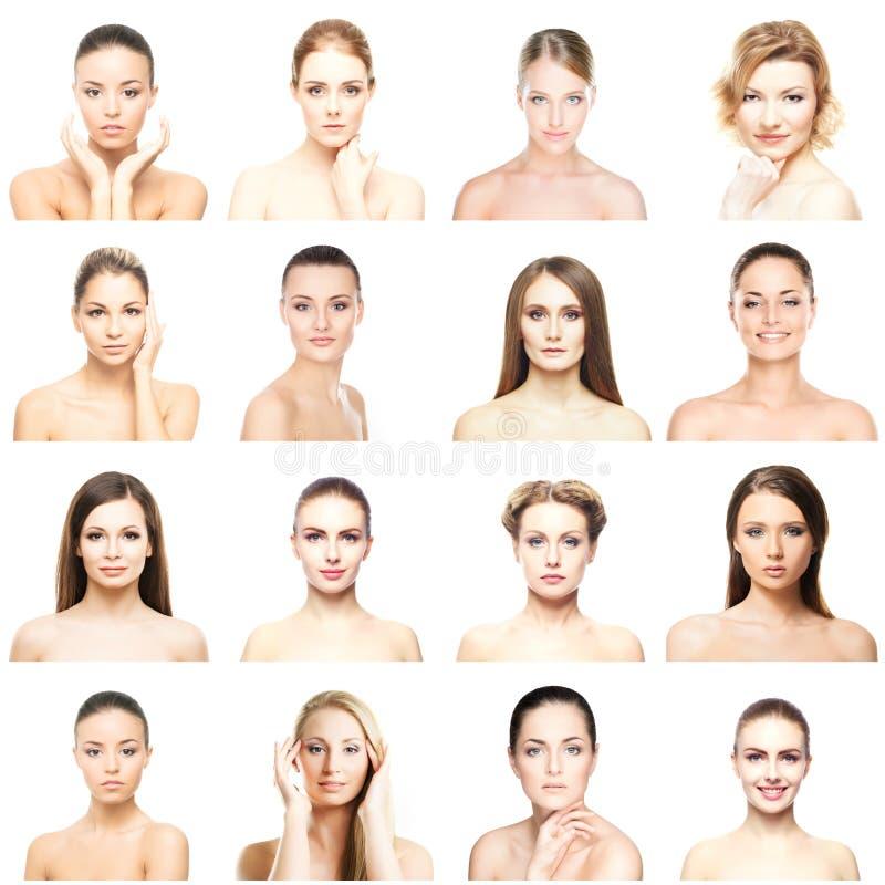 Collage van verschillende portretten van jonge vrouwen in make-up stock afbeelding