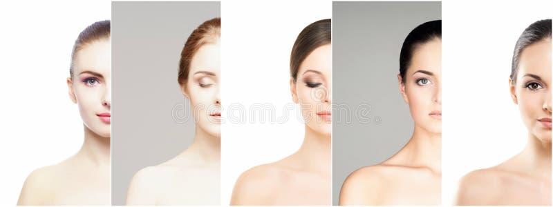 Collage van verschillende portretten van jonge vrouwen in make-up stock fotografie