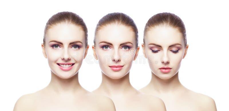 Collage van verschillende vrouwelijke portretten Kuuroord, gezicht die, plastische chirurgieconcept opheffen stock afbeeldingen