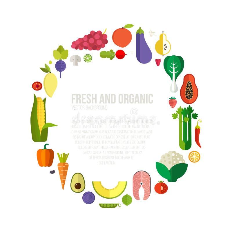 Collage van verse groenten royalty-vrije illustratie