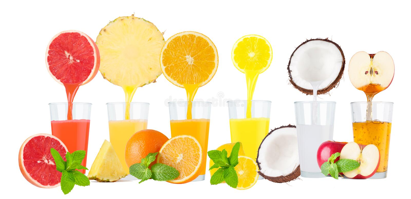 Collage van verse vruchtensappen op witte achtergrond stock fotografie