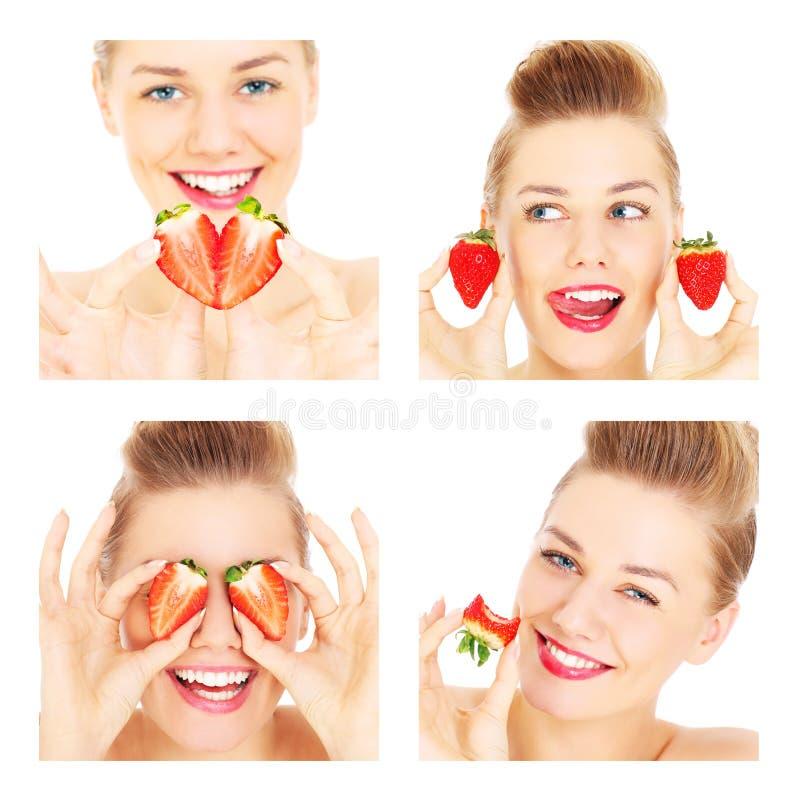 Collage van vier vrouwen en aardbeien stock afbeeldingen