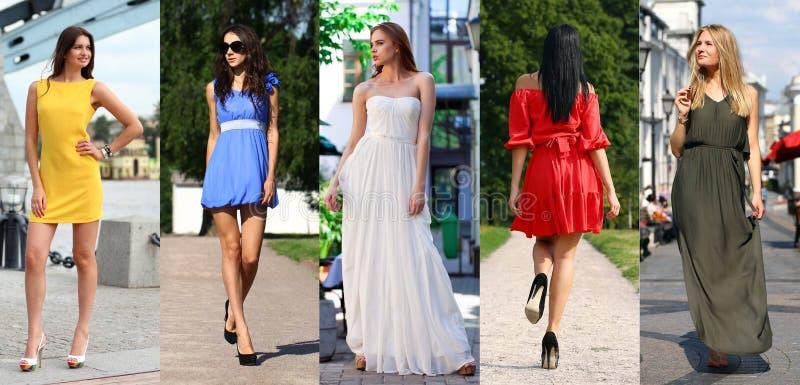 Collage van vijf mooie modellen in gekleurde de zomerkleding royalty-vrije stock foto