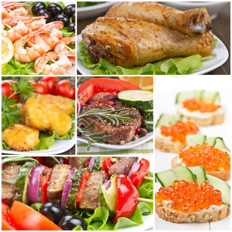 Collage van voedsel stock fotografie
