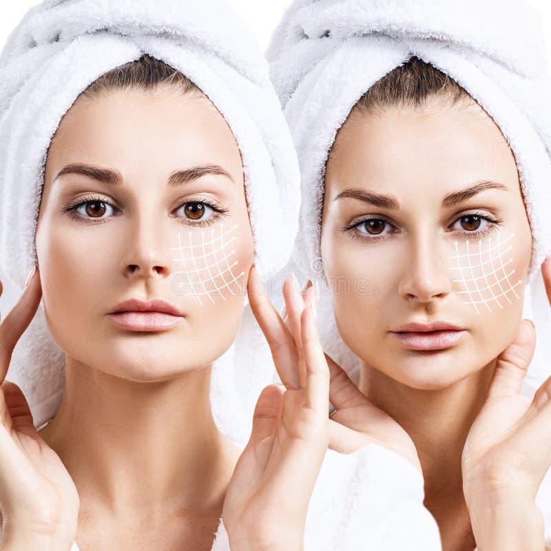 Collage van vrouw in badjas met het opheffen van lijnen op gezicht stock afbeeldingen