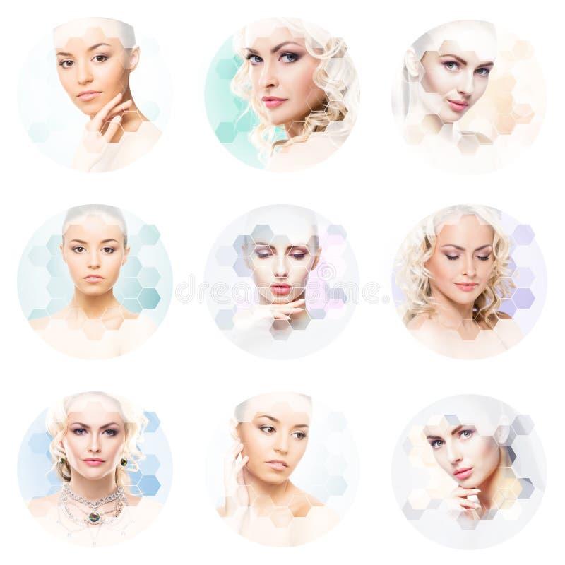 Collage van vrouwelijke portretten Gezonde gezichten van jonge vrouwen Kuuroord, gezicht die, het concept van de plastische chiru royalty-vrije stock afbeeldingen