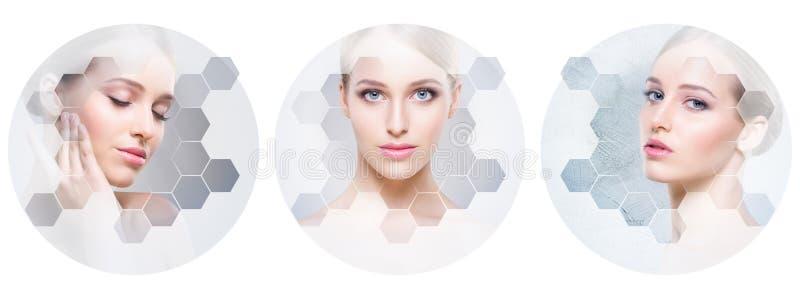Collage van vrouwelijke portretten Gezonde gezichten van jonge vrouwen Kuuroord, gezicht die, het concept van de plastische chiru royalty-vrije stock foto