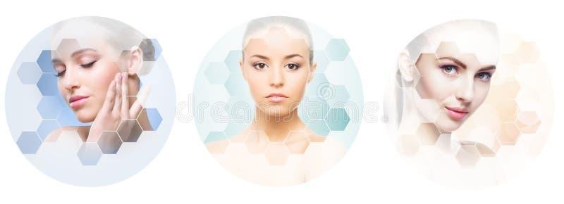Collage van vrouwelijke portretten Gezonde gezichten van jonge vrouwen Kuuroord, gezicht die, het concept van de plastische chiru stock fotografie