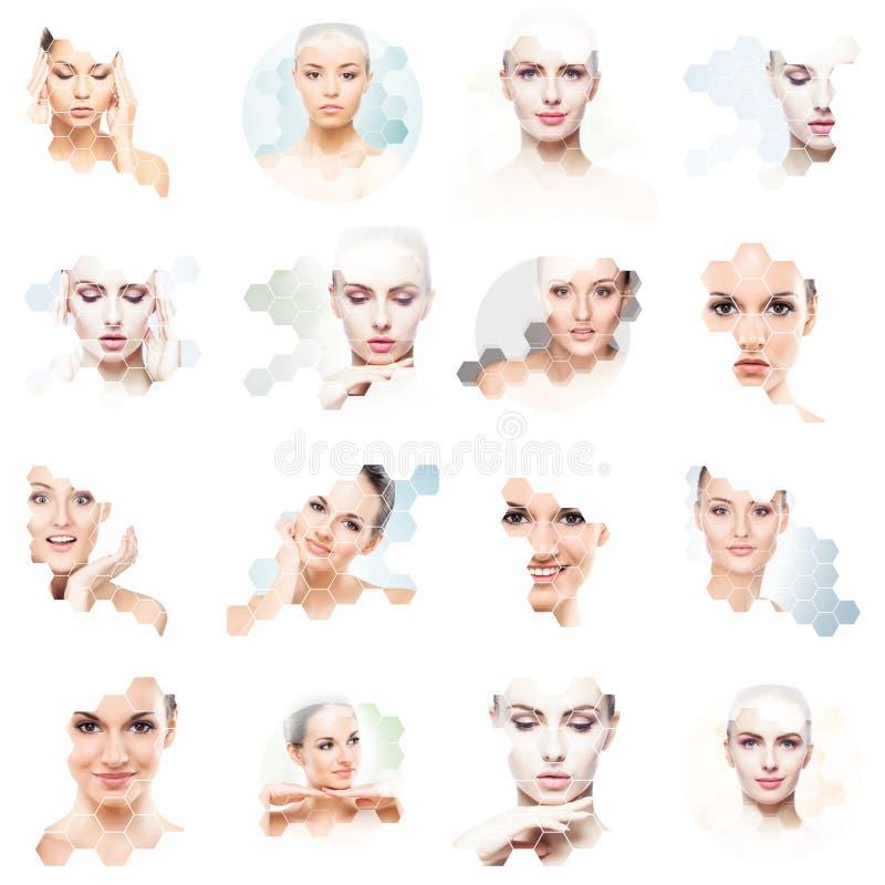 Collage van vrouwelijke portretten Gezonde gezichten van jonge vrouwen Kuuroord, gezicht die, het concept van de plastische chiru royalty-vrije stock foto's