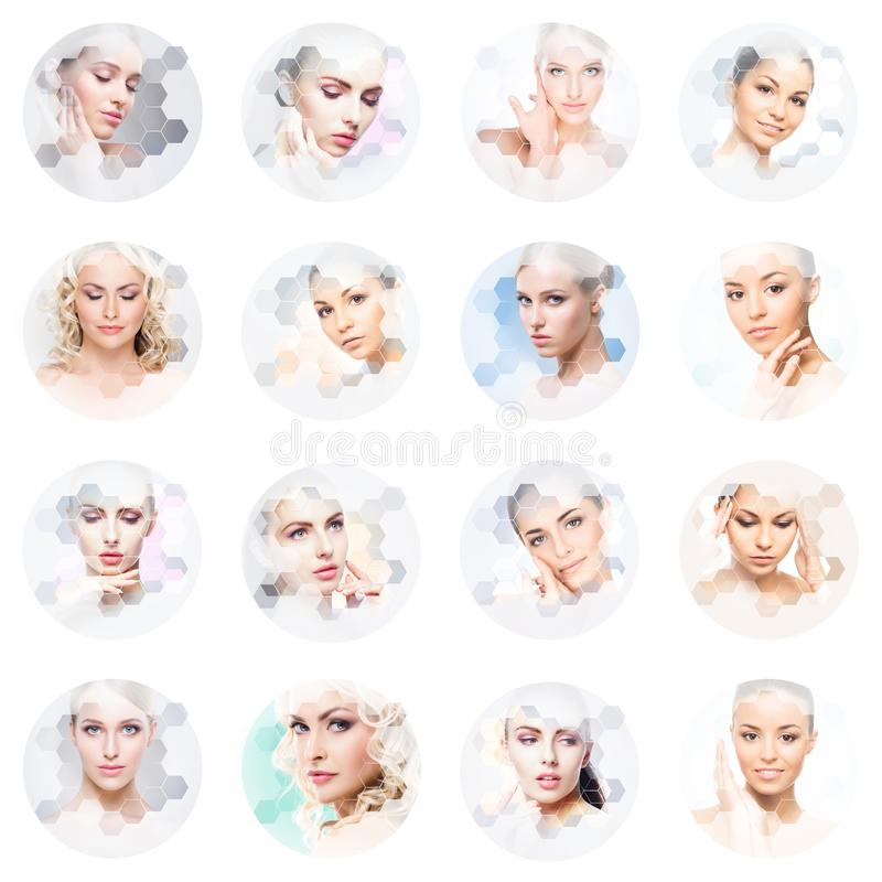 Collage van vrouwelijke portretten Gezonde gezichten van jonge vrouwen Kuuroord, gezicht die, het concept van de plastische chiru stock afbeeldingen