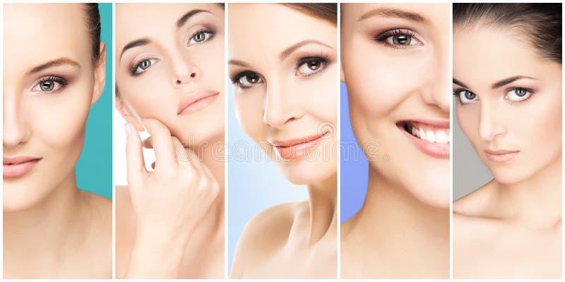 Collage van vrouwelijke portretten Gezonde gezichten van jonge vrouwen Kuuroord, gezicht die, plastische chirurgieconcept opheffe royalty-vrije stock foto's