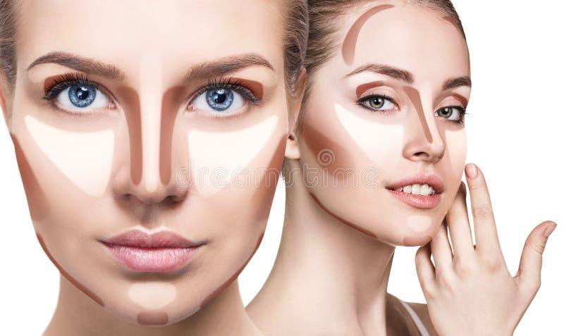 Collage van vrouwen` s gezichten met het de contouren aangeven van van make-up royalty-vrije stock afbeeldingen