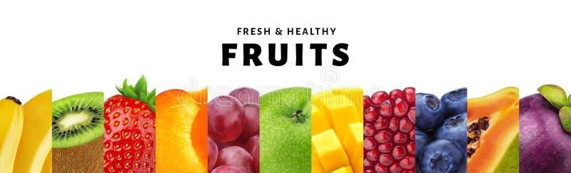 Collage van vruchten op witte achtergrond met van exemplaar ruimte, vers en gezond vruchten en bessen close-up wordt geïsoleerd d stock afbeeldingen