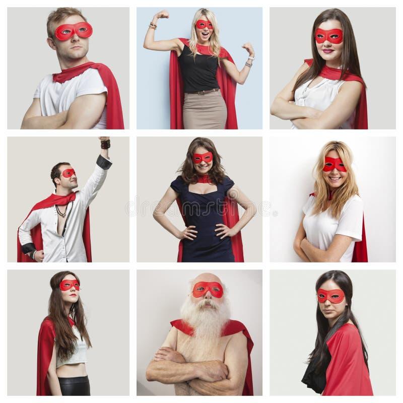 Collage van zekere mensen die superherokostuums dragen royalty-vrije stock afbeelding