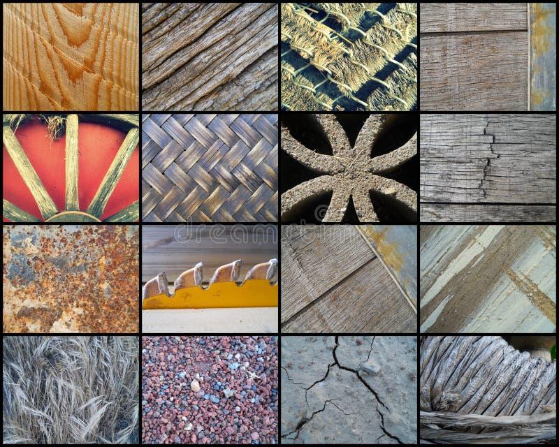 Collage van Zestien Rustieke Texturen royalty-vrije stock afbeelding