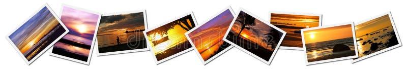 Collage van zonsondergangfoto's royalty-vrije stock afbeeldingen