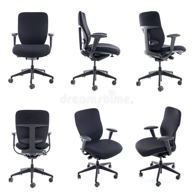 Collage van zwarte die bureaustoel op wit wordt geïsoleerd royalty-vrije stock foto