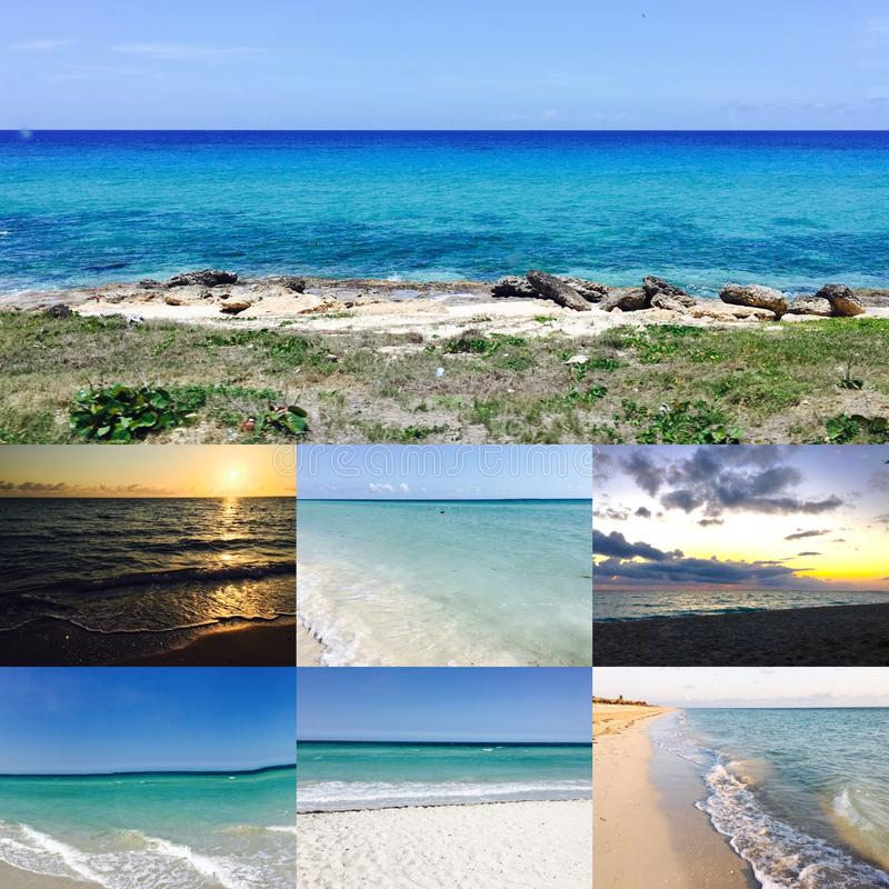 Collage of Varadero beach. Collage of Varadero, Cuba beach front at different moments of the day royalty free stock images