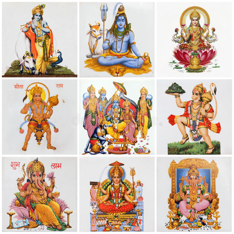 Collage with variety of asian religious symbols stock image