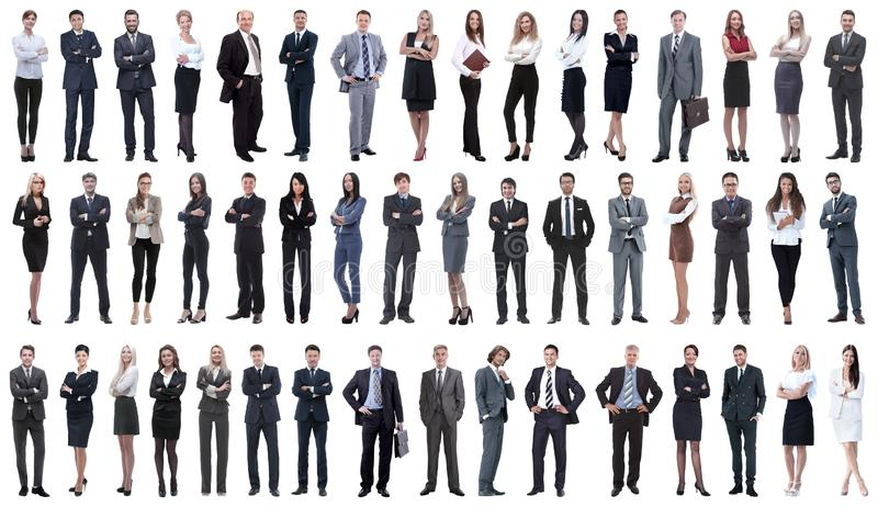Collage of a variety of business people standing in a row stock photos