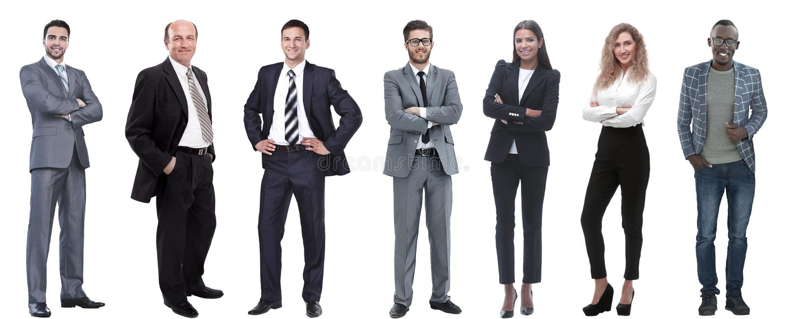 Collage of a variety of business people standing in a row stock images