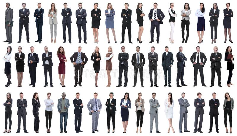 Collage of a variety of business people standing in a row. Isolated on white background royalty free stock photos