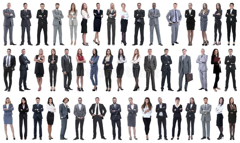 Collage of a variety of business people standing in a row stock photography