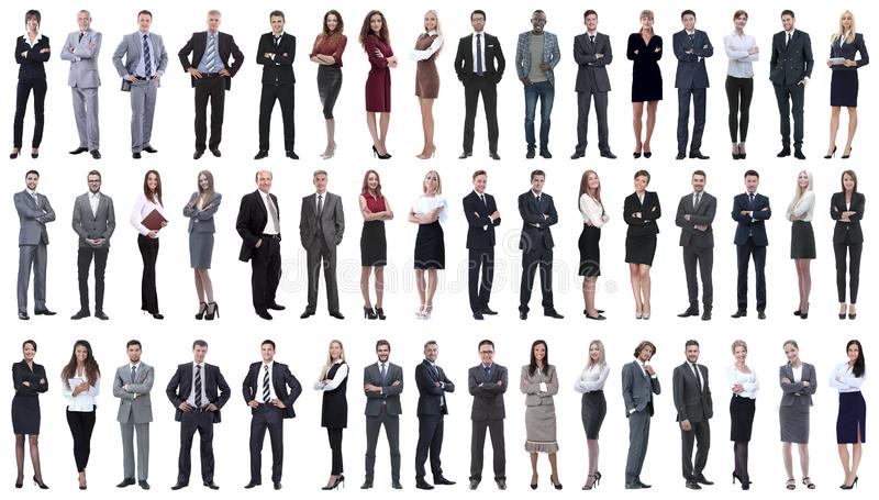 Collage of a variety of business people standing in a row royalty free stock images