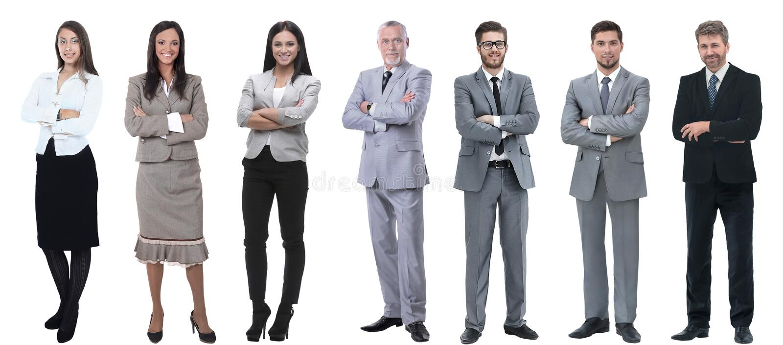 Collage of a variety of business people standing in a row stock photo