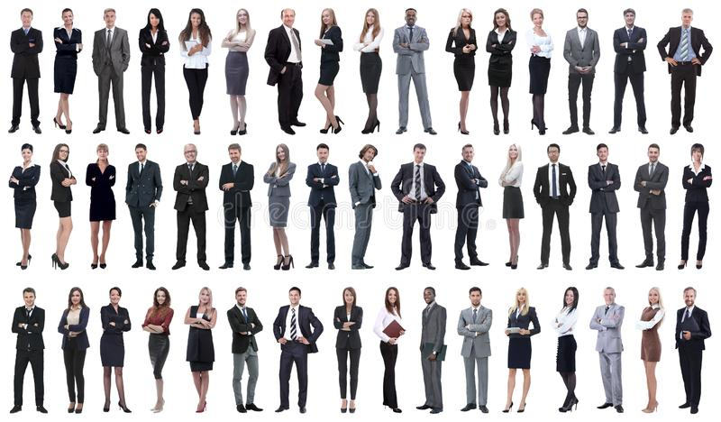 Collage of a variety of business people standing in a row royalty free stock photo