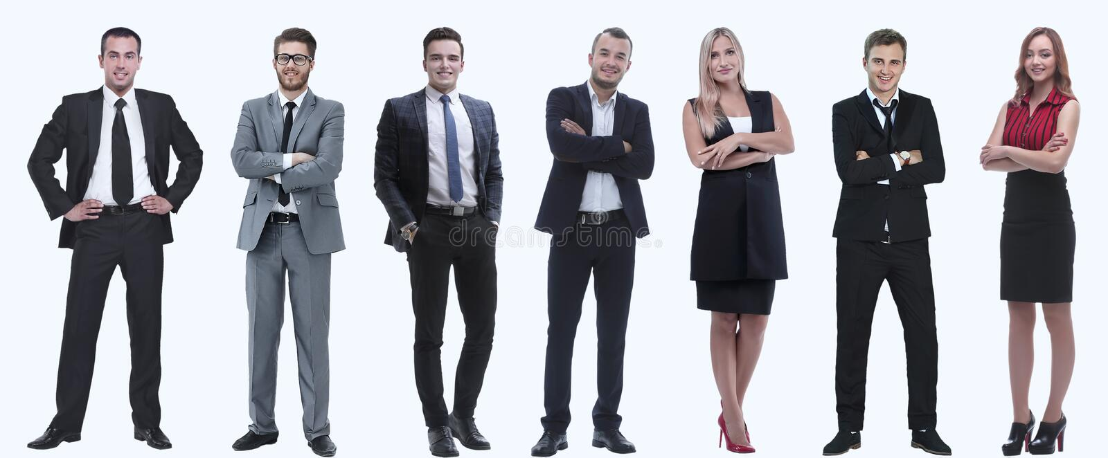 Collage of a variety of business people standing in a row. Isolated on white background royalty free stock images