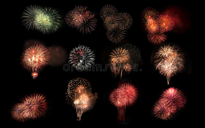 Collage of a variety of colorful fireworks isolated on black background stock photo