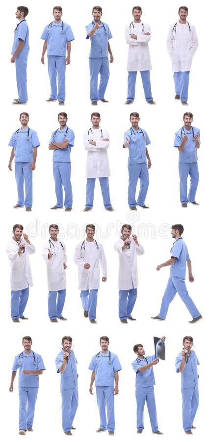Collage of a variety of medical doctors standing in a row stock photography