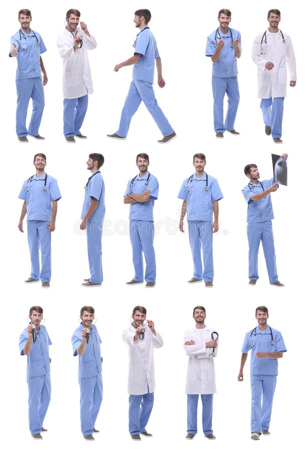 Collage of a variety of medical doctors standing in a row stock photo