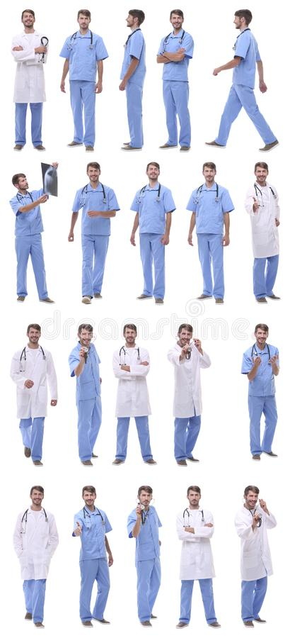 Collage of a variety of medical doctors standing in a row stock image