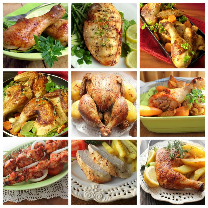 Collage of various chicken products stock image