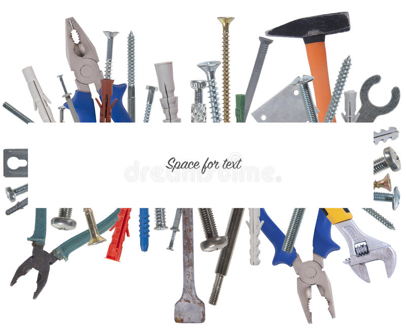 Collage of various construction tools with space for text. Studio photography on a white background. Isolated stock images