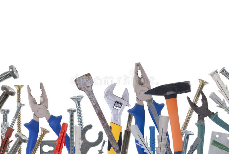 Collage of various construction tools. Studio photography on a white background. Isolated royalty free stock photography