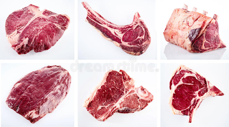 Collage of various cuts of raw beef steak stock images
