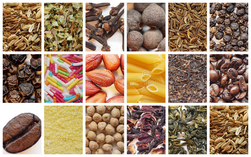 Collage of various dry food stock photography