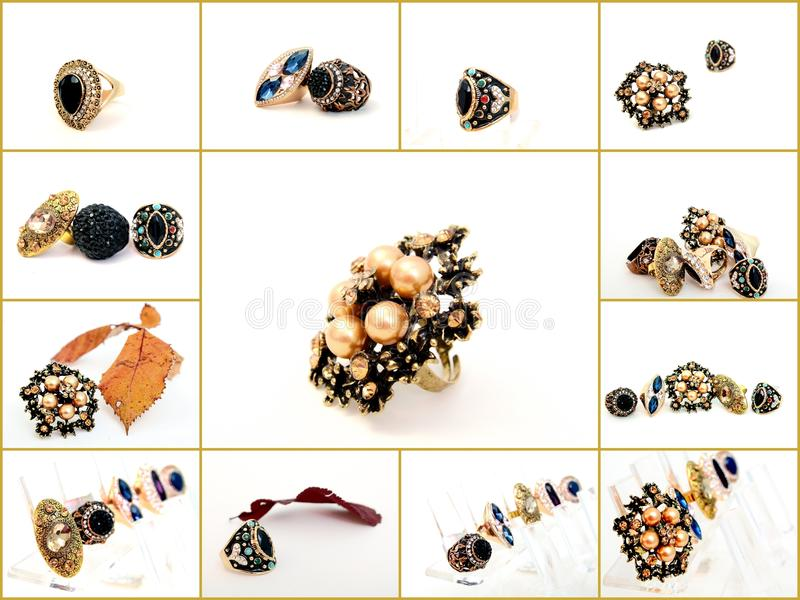 Collage of various fashion rings royalty free stock image