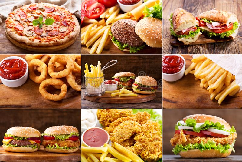 Various fast food products stock images