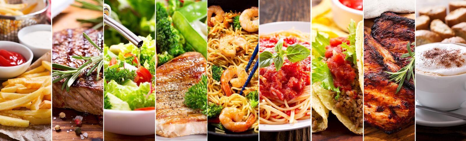 Collage of food products royalty free stock images