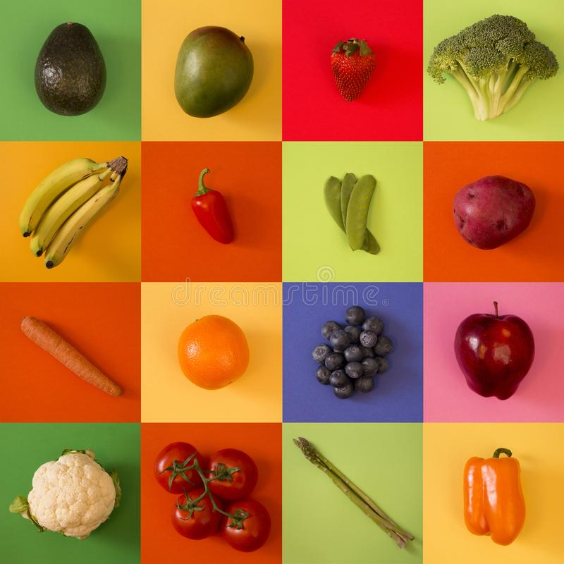 Collage of Various Fruits and Vegetables royalty free stock photos