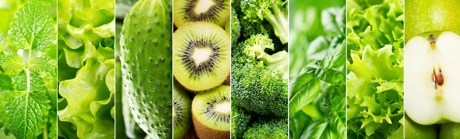 Collage of various green food stock photos