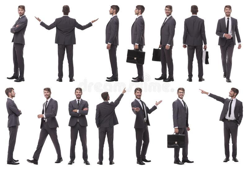 Collage of various photos of a successful businessman stock images