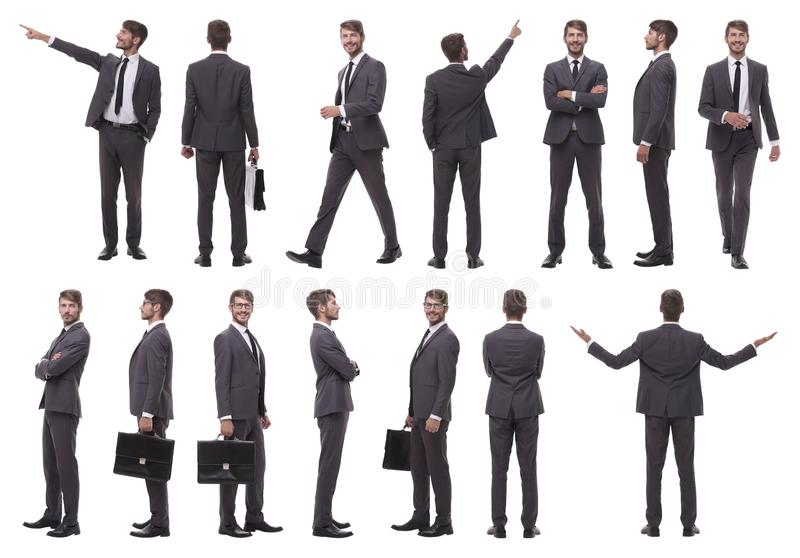 Collage of various photos of a successful businessman stock image